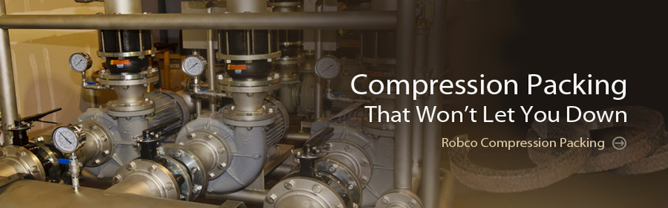 Compression packing for pumps and compressors